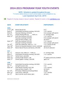 2014-2015 Events Schedule