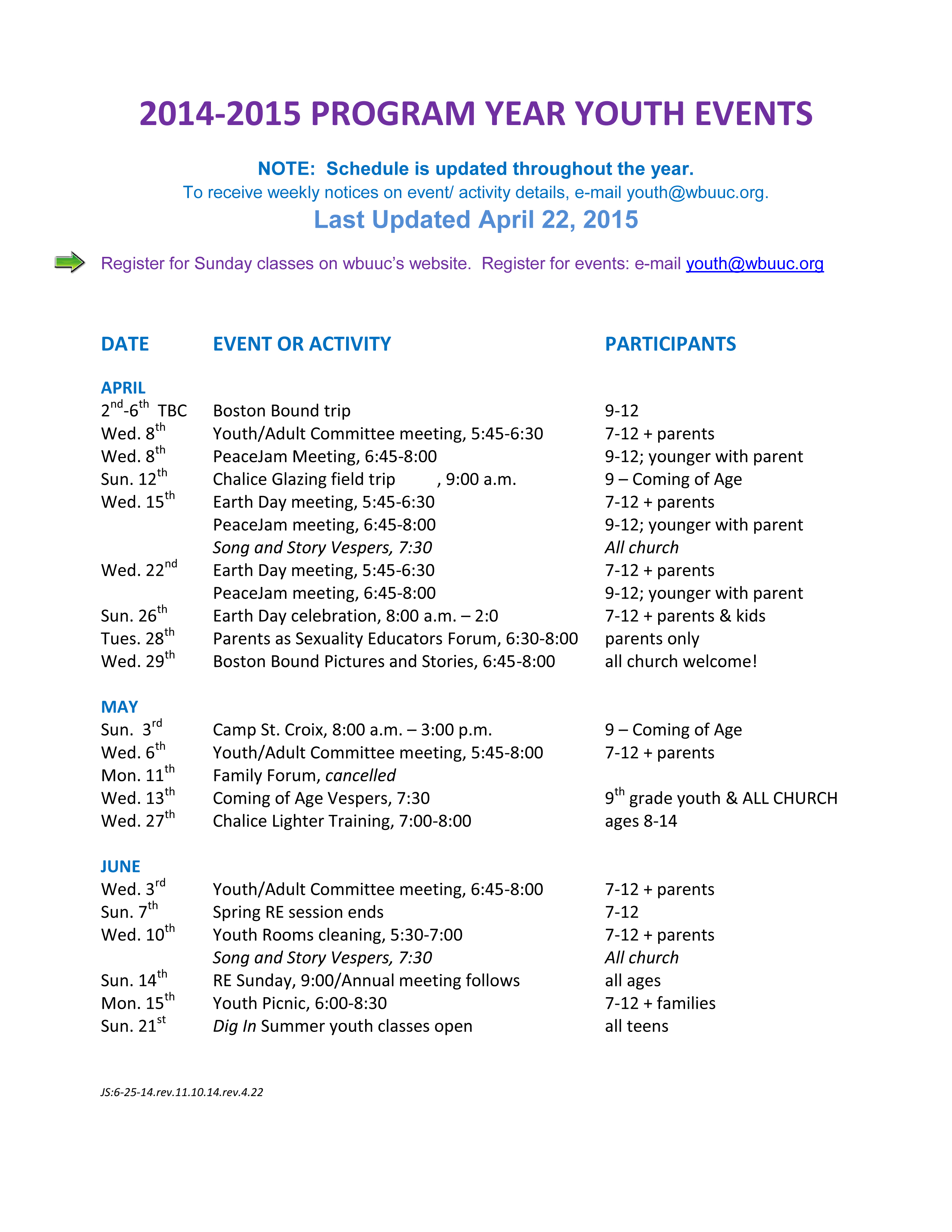 calendar schedule program
