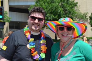 Rev. Luke and Helen Duritsa showing their colorful support at the 2013 Pride Parade