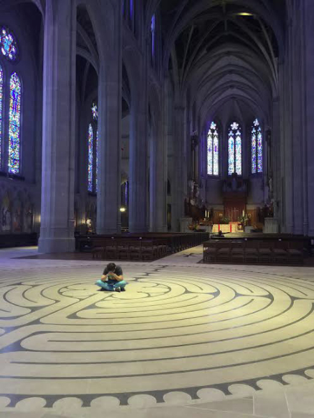Labyrinth:  Wandering through San Francisco with no destination in mind but, as always, drawn to elevations, I found myself entering Grace Cathedral on Nob Hill, tailing another wanderer. I had not hesitated to enter, and once inside, was filled with a sense of arrival, wonder, and welcome as the labyrinth embraced me, pulled me in further, and held me until I was ready to leave.